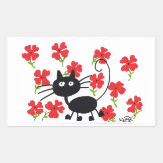 Gato preto dos desenhos animados e flores adesivo retangular