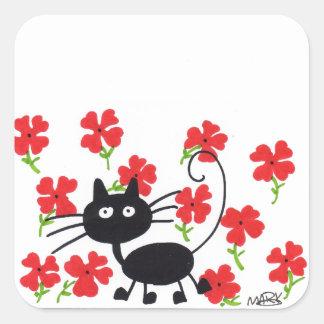 Gato preto dos desenhos animados e flores adesivo quadrado