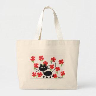Gato preto dos desenhos animados e flores vermelha bolsa