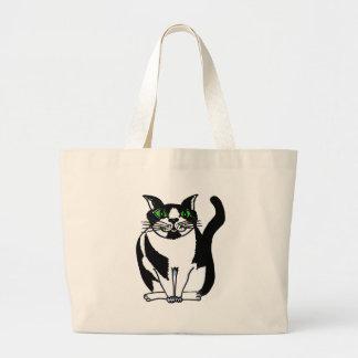 Gato preto e branco carnudo bolsa