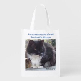 Gato preto e branco sacola ecológica para supermercado