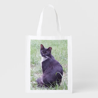 Gato preto e branco sacola reusável