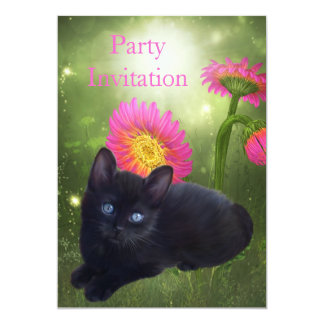 Gato preto e flores do convite