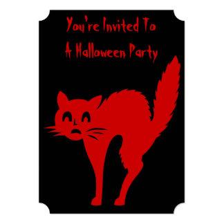 gato preto engraçado do Dia das Bruxas com Convite 12.7 X 17.78cm