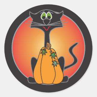 Gato preto feliz do Dia das Bruxas Adesivo Redondo