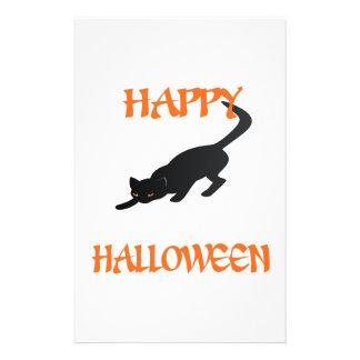 Gato preto feliz do Dia das Bruxas Papelaria