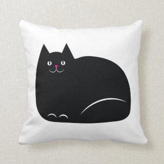 Gato preto gordo almofada
