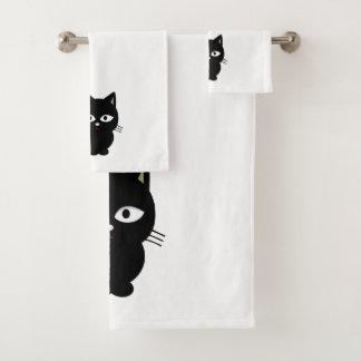 Gato preto - grupo de toalha do banheiro
