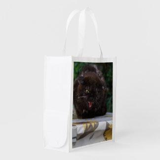 Gato preto irritado sacola ecológica