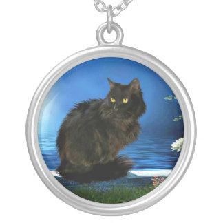 Gato preto mágico Prata-Chapeado em volta da colar