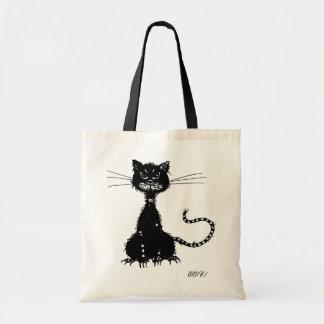 Gato preto mau áspero sacola tote budget