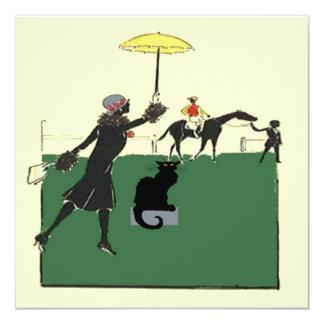 Gato preto na corrida de cavalos convite quadrado 13.35 x 13.35cm