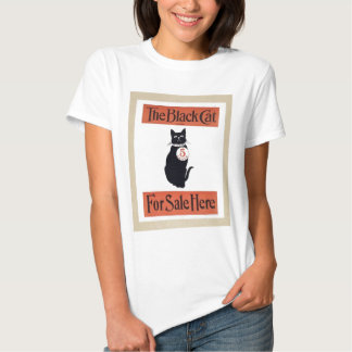 gato preto ocasional das senhoras camisetas
