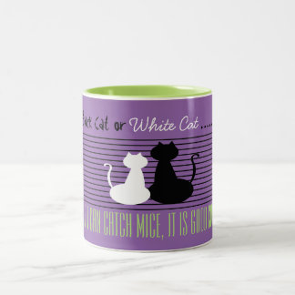 Gato preto ou branco - bom gato, caneca verde