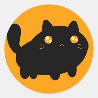 Gato preto parvo adesivo redondo