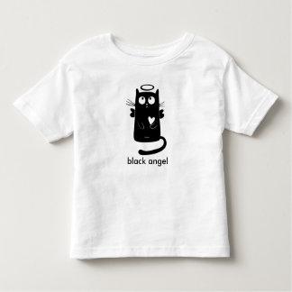 Gato preto personalizado do anjo bonito camiseta
