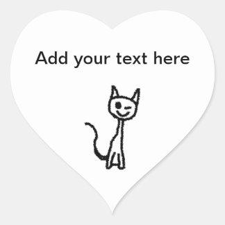 Gato preto, pisc adesivo de coração