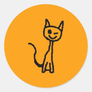 Gato preto, pisc adesivo