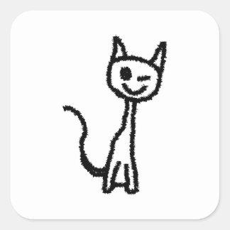 Gato preto, pisc adesivo quadrado