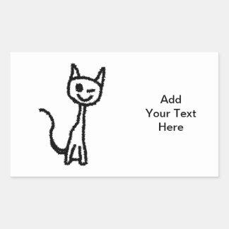 Gato preto pisc adesivos em formato retangulares