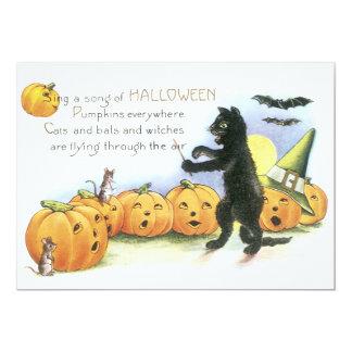 Gato preto que conduz o coro do Dia das Bruxas da Convite 12.7 X 17.78cm