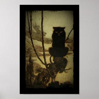 Gato preto que Scowling Impressão