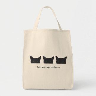 Gato preto sacola tote de mercado