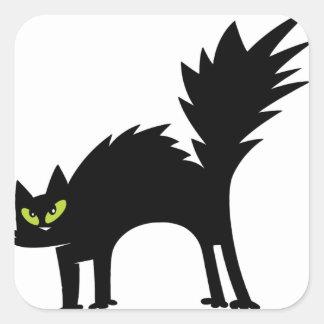 Gato preto Scared engraçado Adesivos Quadrados
