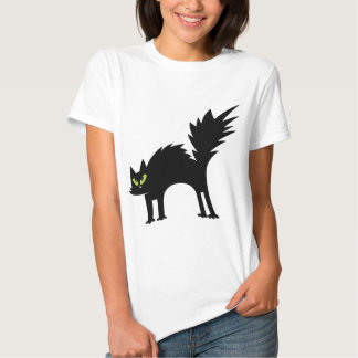Gato preto Scared engraçado Camisetas