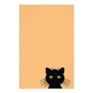 Gato preto Verde-Eyed cómico e curioso Papelaria