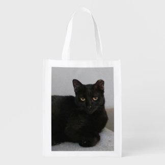 Gato preto sacola ecológica para supermercado