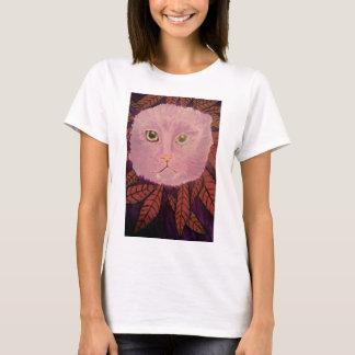Gato que olha através da t-camisa dos arbustos camiseta