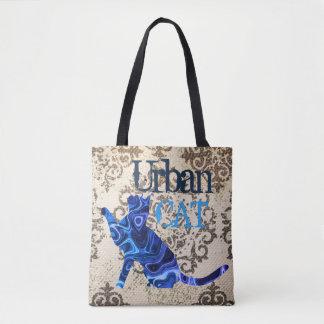 Gato & rato urbanos azuis toda sobre - imprima a bolsa tote