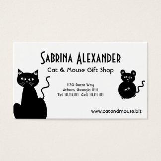 Gato retro bonito e rato dos desenhos animados cartão de visitas