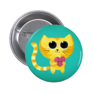Gato romântico bonito com coração de sorriso bóton redondo 5.08cm