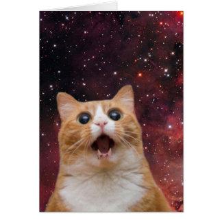 gato scaredy no espaço cartão comemorativo