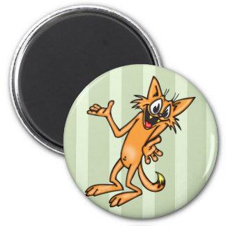 Gato Shrugging engraçado dos desenhos animados Ímã Redondo 5.08cm