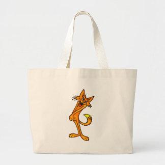Gato tímido dos desenhos animados bolsas para compras