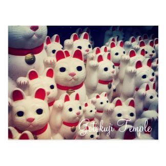 Gatos afortunados do Maneki Neko do templo de Cartão Postal