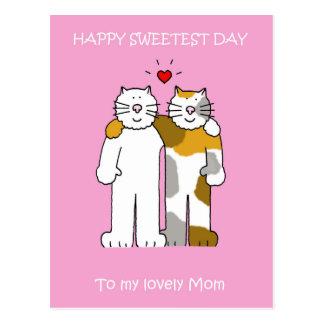 Gatos bonitos da mamã a mais doce feliz do dia cartão postal