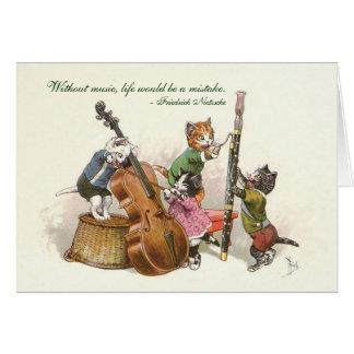 Gatos bonitos do vintage que jogam a música cartão comemorativo