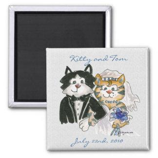Gatos bonitos dos desenhos animados que Wedding o Ímã Quadrado
