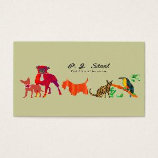 Gatos bonitos na moda dos cães dos animais da cartão de visitas