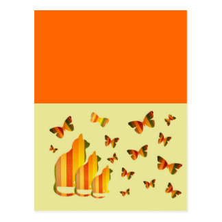 Gatos & borboletas cartão postal
