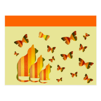 Gatos & borboletas cartoes postais