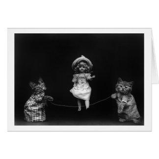 Gatos com boneca cartão de nota