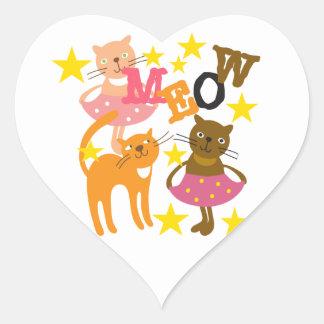 Gatos da dança adesivo de coração