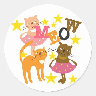 Gatos da dança adesivo em formato redondo