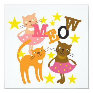 Gatos da dança convite quadrado 13.35 x 13.35cm