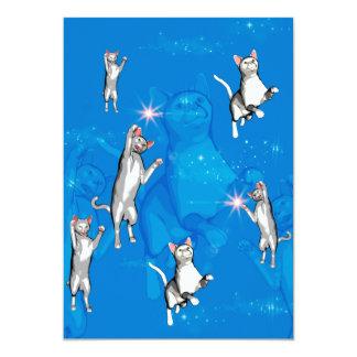Gatos de jogo engraçados dos desenhos animados convite 12.7 x 17.78cm